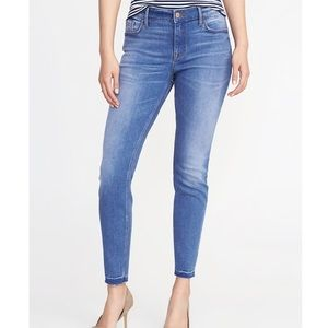 Old Navy Mid-Rise Raw-Edge Rockstar Jeans